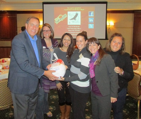 "Gary's ""harvesting sales"" theme for the Ypsilanti (MI) CVB and its hotel partners yielded a big Thanksgiving turkey to the lucky winner of a sales contest"