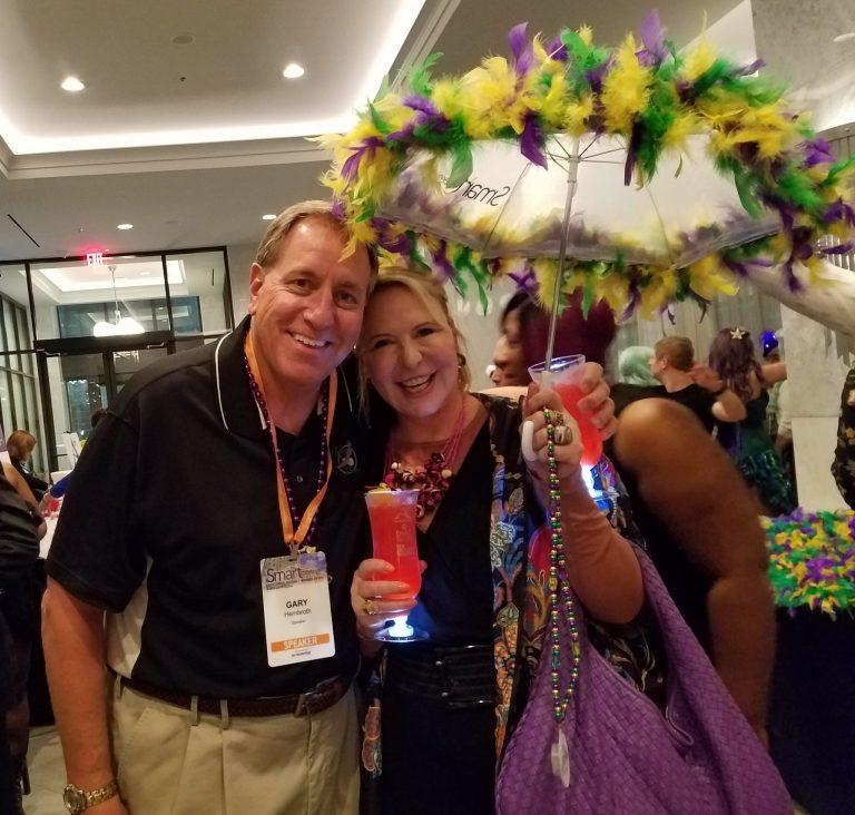 Gary and SMART MEETINGS Magazine publisher Marin Bright are revved up for the French Quarter parade for attendees prior to Gary's keynote session the next day